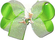 Medium White Glitter Mesh over Lypple with Tinkerbell Miniature Double Layer Overlay Bow