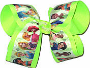 Large All the Princesses over Neon Lime Double Layer Overlay Bow