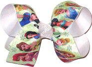 Medium Disney Princesses over White Double Layer Overlay Bow