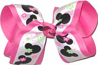 Large Minnie Mouse over Hot Pink Double Layer Overlay Bow