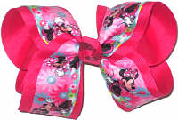 Large Minnie Mouse over Shocking Pink Double Layer Overlay Bow