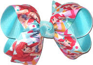 Medium Ariel Little Mermaid over Navajo Turquoise Double Layer Overlay Bow