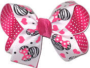 Medium Minnie Print over Shocking Pink Double Layer Overlay Bow