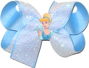 Medium Cinderella Miniature with White Glitter Mesh over Millenium Blue Double Layer Overlay Bow