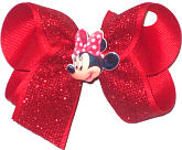 Medium Minnie Mouse Miniature with Red Glitter Mesh over Red Double Layer Overlay Bow