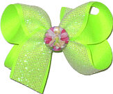 Medium Tinkerbell Pin on White Glitter Mesh over Neon Lime Double Layer Overlay Bow