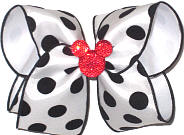 Large Red Glitter Minnie Mouse Silhouette on White Satin with Black Coin Dots over White Double Layer Overlay Bow