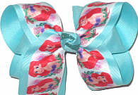 Large Little Mermaid Ariel over Aqua Double Layer Overlay Bow