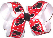 Large Minnie Mouse on Red with White Dots over White Double Layer Overlay Bow