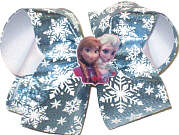 Large Elsa and Anna Miniature with Snowflakes on Ice Blue Metallic over White Double Layer Overlay Bow