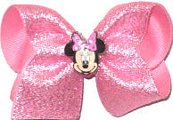 Toddler Minnie Mouse Miniature on Pink Sparkle Chiffon over Pink Double Layer Overlay Bow