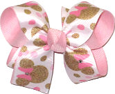 Medium Minnie Mouse with Swarovski Crystals over Light Pink Double Layer Overlay Bow