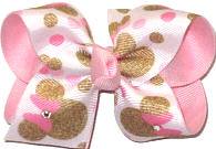 Toddler Minnie Mouse with Swarovski Crystals over Light Pink Double Layer Overlay Bow