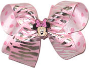 Medium Minnie Mouse Miniature with Silver Tiger Stripes on Light Pink over Pink Dots on White Double Layer Overlay Bow