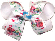 Medium Elsa and Anna on White over White Double Layer Overlay Bow