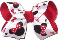 Toddler Minnie Mouse Sillouette with Red Bow over Red Double Layer Overlay Bow