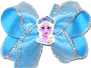 Medium Elsa with Swarovski Crystal Crown on Mystic Blue Double Layer Overlay Bow