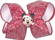 Large Mickey Christmas on Red with White Snow Flurry over White Double Layer Overlay Bow
