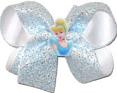 Medium Cinderella with Light Blue and Silver Glitter over White Double Layer Overlay Bow