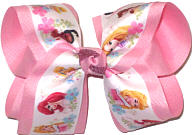 Large Disney Princesses Cinderella Sleeping Beauty Ariel Tiana Belle Rapunzel over Pink Double Layer Overlay Bow