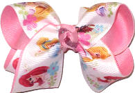 Toddler Disney Princesses Cinderella Sleeping Beauty Ariel Tiana Belle Rapunzel over Pink Double Layer Overlay Bow