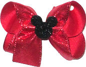 Medium Red Snakeskin with Glitter Finish Minnie Silhouette over Red Double Layer Overlay Bow