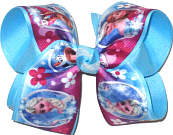 Large Elsa Anna and Olaf over Mystic Blue Double Layer Overlay Bow