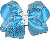 Large Elsa Miniature with Swarovki Crystals on Glitter Snowflake Chiffon over Mystic Blue Double Layer Overlay Bow