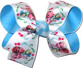 Medium Elsa and Anna over Mystic Blue Double Layer Overlay Bow