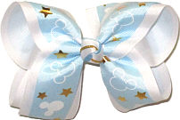 Large Mickey Silhouettes on Light Blue with Gold Stars over White Double Layer Overlay Bow