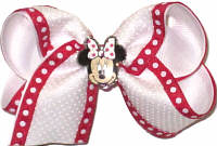 Toddler White with White Dots with Red with White Dots Edge over White with Minnie Mouse Miniature Double Layer Overlay Bow