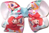 Toddler Ariel Little Mermaid over White Double Layer Overlay Bow