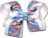 Large Elsa Anna and Olaf over White Double Layer Overlay Bow