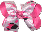 Medium Minnie Mouse Silhouettes on Gray over Hot Pink Double Layer Overlay Bow