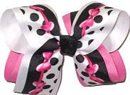 Large Hot Pink Minnie Bows on Black and White with Black Dots over Hot Pink and White Double Layer Overlay Bow
