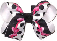 Medium Hot Pink Minnie Bows on Black and White with Black Dots over White Double Layer Overlay Bow