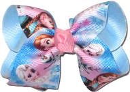 Toddler Frozen Elsa Anna and Olaf over Millenium Blue Double Layer Overlay Bow