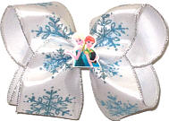 Large Blue and Silver Glitter Snowflakes on White Satin with Silver Edging with Elsa and Anna Miniature over White Double Lay