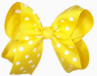 Large Maize with White Polka Dots Polka Dot Bow