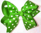 Large Apple Green with White Polka Dots Polka Dot Bow