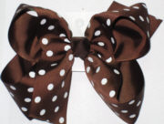Large Brown with White Polka Dots Polka Dot Bow