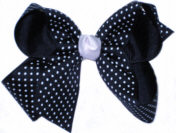Medium Navy with White Microdots and White Knot Polka Dot Bow