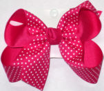 Medium Shocking Pink with White Microdots Polka Dot Bow