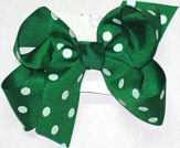 Medium Emerald with White Dots Polka Dot Bow
