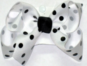 Medium White with Black Dots and Black Knot Polka Dot Bow