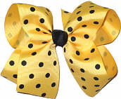 Large Large Maize with Black Polka Dots Polka Dot Bow