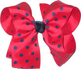 Large Large Red with Navy Polka Dots Polka Dot Bow