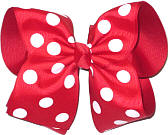 MEGA Extra Large Red with White Dots Polka Dot Bow