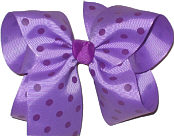 Large Large Dark Orchid with Plum Dots Polka Dot Bow