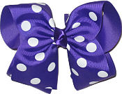 MEGA Extra Large Purple with White Dots Polka Dot Bow